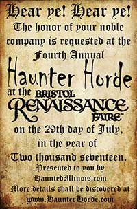 HauntedIllinois.com's Fourth Annual Haunter Horde will be held on Saturday, July 29th, 2017!