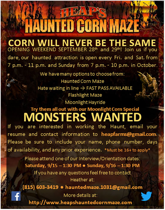 Heaps Haunted Corn Maze in Minooka, IL