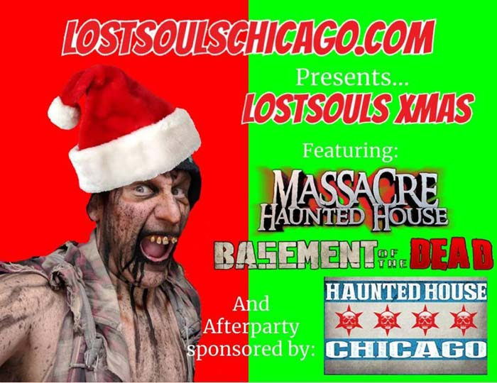 2018 Lost Souls Chicago Haunted House Bus Tour of Christmas Haunted Houses, to Massacre and Basement of the Dead haunted houses in Illinois