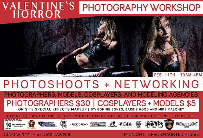 Valentine's Horror Photography Workshop at the Midnight Terror Haunted House (Oak Lawn, IL)
