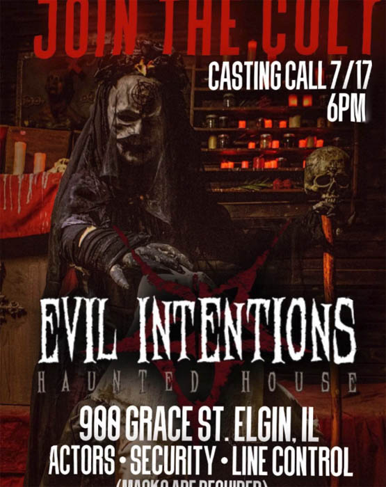 Help Wanted at Evil Intentions Haunted House in Elgin, IL.
